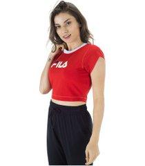 blusa cropped fila pia ii - feminina - vermelho