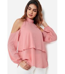 blusa con superposición en la espalda con cuello halter y hombros descubiertos rosa polvo