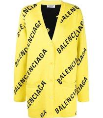 balenciaga oversized logo-intarsia cardigan