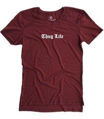 camiseta longline stoned gold thug life masculina