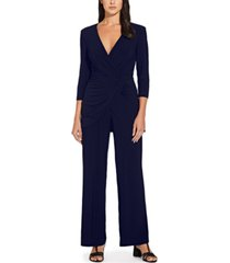 adrianna papell draped-front wide-leg jumpsuit