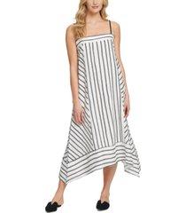 dkny striped asymmetrical-hem sleeveless midi dress