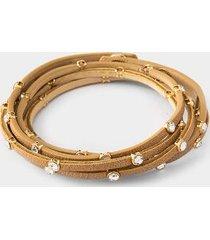 belen crystal leather wrap bracelet - khaki