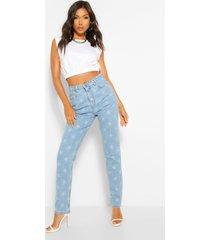 hoge taille mom jeans met sterren, light blue