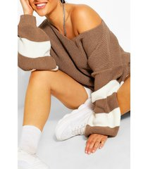 plus v neck stripe sweater, taupe