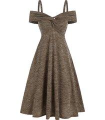 cold shoulder twist front heathered ribbed dress