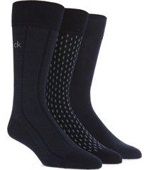 men's calvin klein 3-pack cotton blend socks, size one size - blue