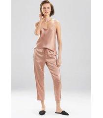 key essentials pants, women's, red, 100% silk, size l, josie natori