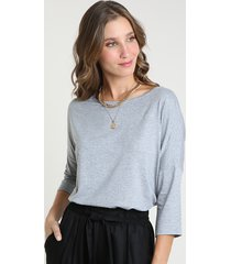 blusa feminina ampla básica manga 7/8 decote redondo cinza mescla claro