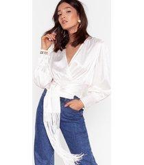 womens all sleek jacquard fringe blouse - white