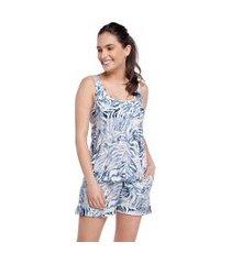 pijama feminino curto regata com bolso zebra azul