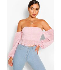 dobby chiffon off the shoulder top, mauve