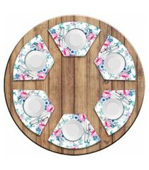 jogo americano love decor  para mesa redonda wevans floral premium kit com 6 pçs