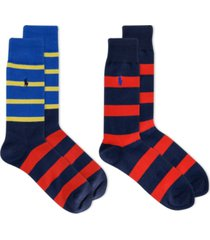 polo ralph lauren men's striped slack socks, 2-pk