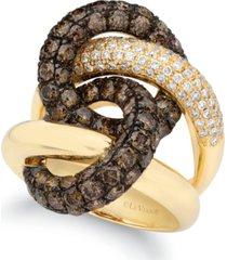 le vian chocolate diamond & vanilla diamond interlocking ring (4-1/4 ct. t.w.) in 14k gold