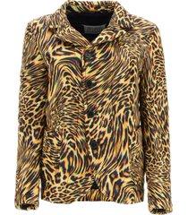 maison margiela leopard print padded blazer