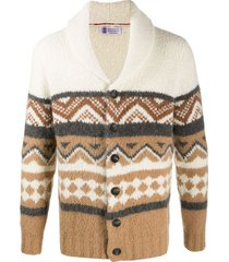 brunello cucinelli shawl-collar cardigan - brown
