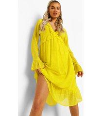 dobby mesh midi jurk met lange mouwen en franjes, mustard