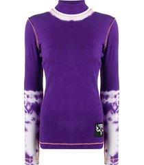 diesel t-lapis turtle neck tie-dye jumper - purple