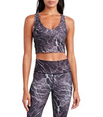 sage collective women's ripple-print longline sports bra - purple - size xl