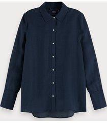 scotch & soda klassieke blouse van een linnenmix