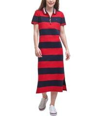 tommy hilfiger rugby-stripe midi polo dress