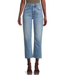 boyish women's the tommy high-rise cropped straight jeans - blue - size 23 (00)
