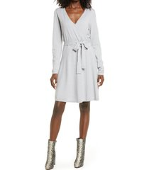 women's vero moda karissara long sleeve faux wrap dress, size x-small - grey