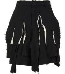 black comme des garçons distressed tailored shorts