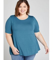 lane bryant women's perfect sleeve swing tee with shirred shoulders 26/28 lyons blue
