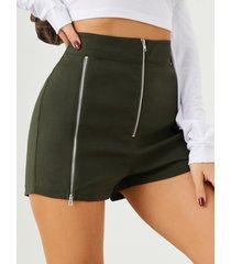 shorts casuales de cintura alta con cremallera frontal yoins