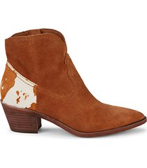 senica cow hair & suede western booties