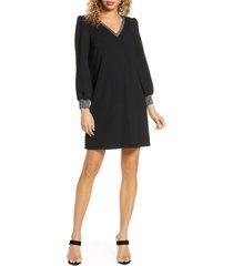 women's sam edelman metallic trim long sleeve shift dress