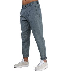 mens mixed linen trousers