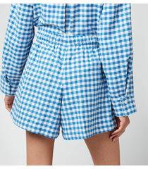 holzweiler women's musan check shorts - blue check - l