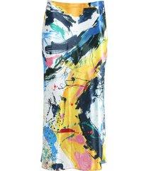 aliya multicolored print midi skirt