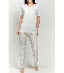 mood pajamas ultra soft floral short sleeve pajama set