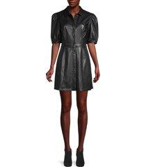 bb dakota women's way out faux leather shirtdress - black - size 8