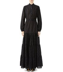 women's gucci micro gg broderie anglaise long sleeve maxi dress