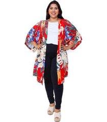 kimono plus size bruna feminino - feminino