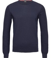 amiox stickad tröja m. rund krage blå boss