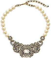 mirror beauty crystal, rhinestone & faux pearl necklace