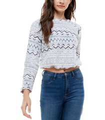 derek heart juniors' zig-zag pullover top