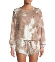 allison new york women's tie-dye sweatshirt - mocha - size s
