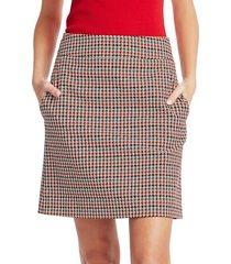 akris punto women's houndstooth a-line skirt - size 8