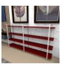 estante industrial aço branco 180x30x98cm (c)x(l)x(a) mdf vermelho modelo ind56vrest