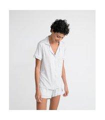 pijama americano curto em viscolycra com bolsinho na frente | lov | cinza claro | gg