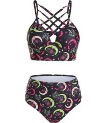moon stars and cat print criss-cross bikini swimwear