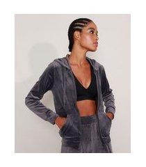 jaqueta de plush esportiva ace com bolso e capuz cinza