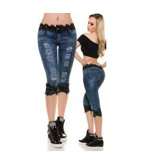 sexy capri-driekwarts jeans gebruikte used look met kant zwart